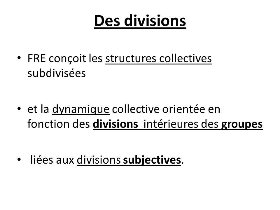 Des divisions FRE conçoit les structures collectives subdivisées