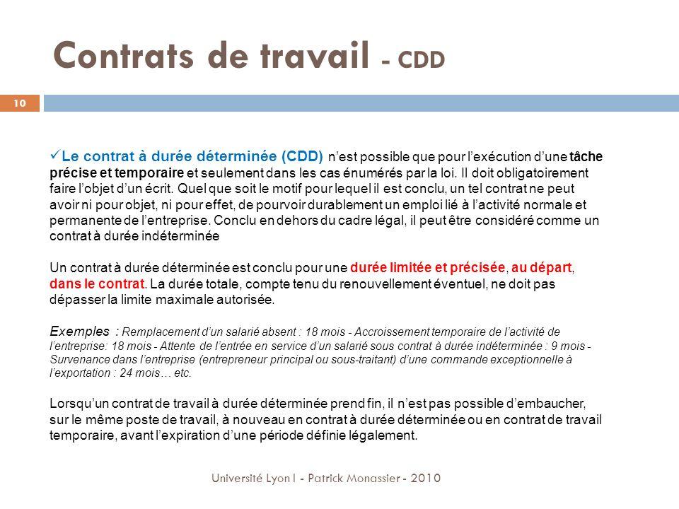 Contrats de travail - CDD