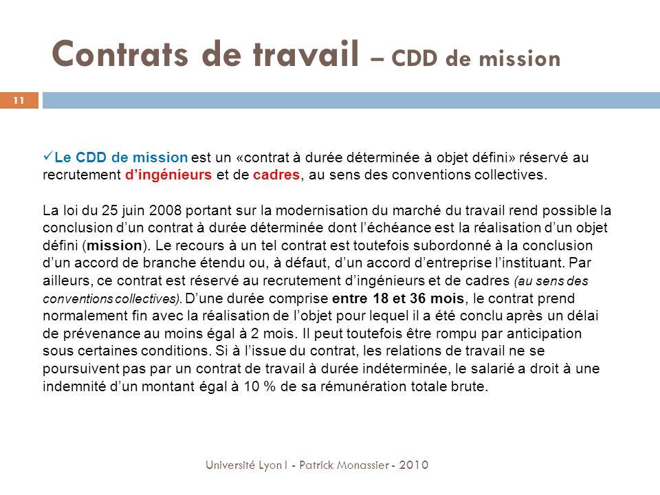 Contrats de travail – CDD de mission