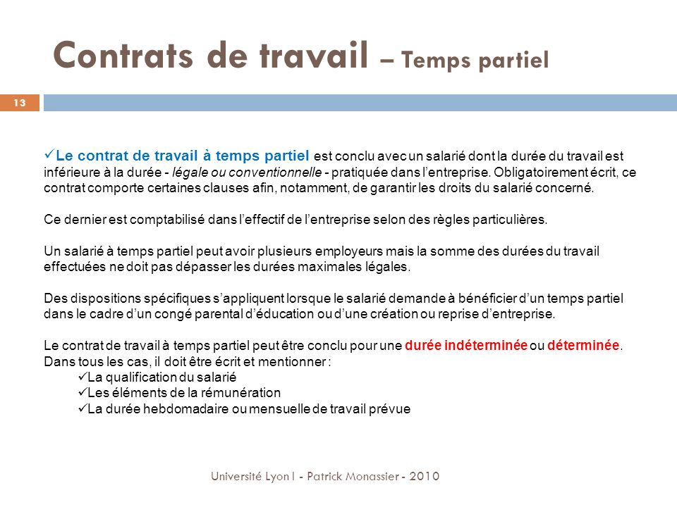 Contrats de travail – Temps partiel