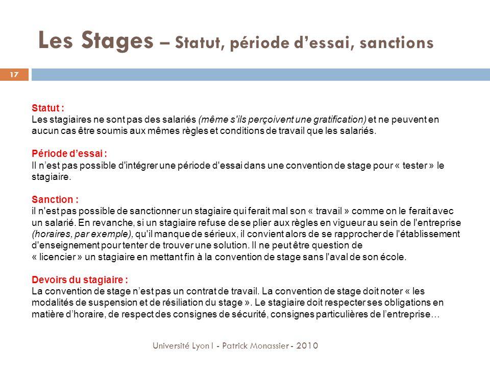 Les Stages – Statut, période d'essai, sanctions