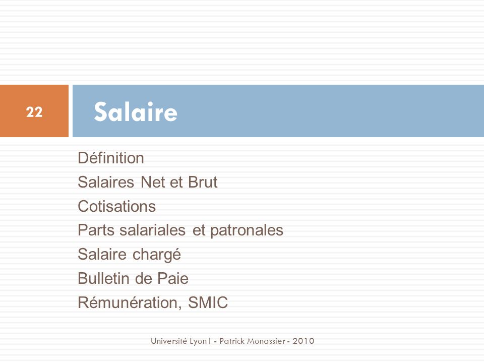 Salaire Définition Salaires Net et Brut Cotisations