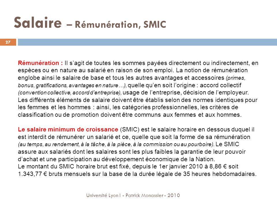 Salaire – Rémunération, SMIC