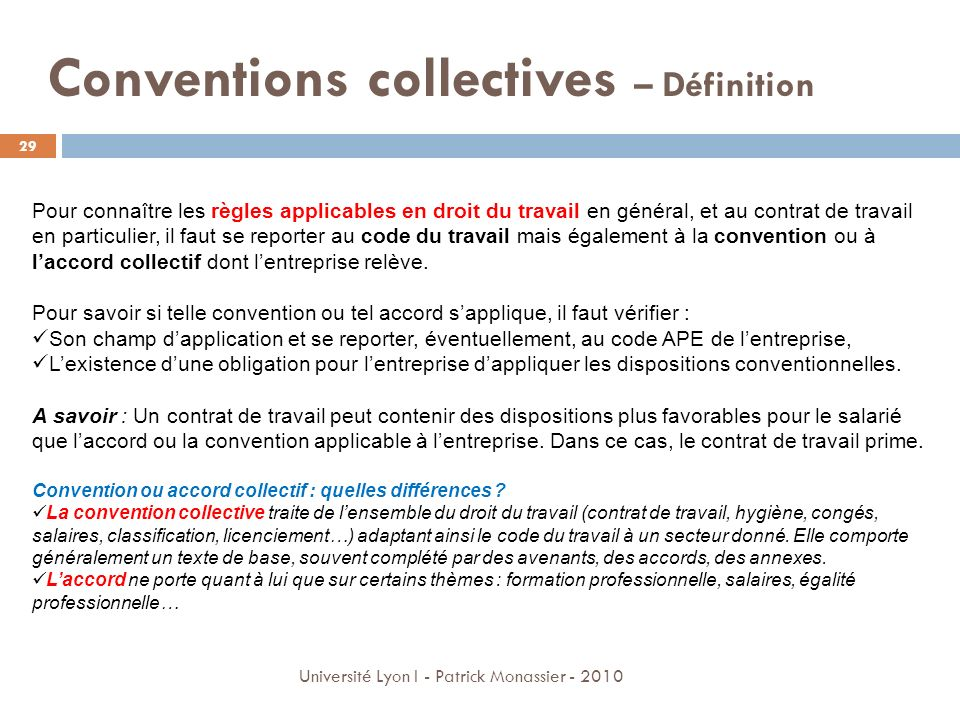 Conventions collectives – Définition