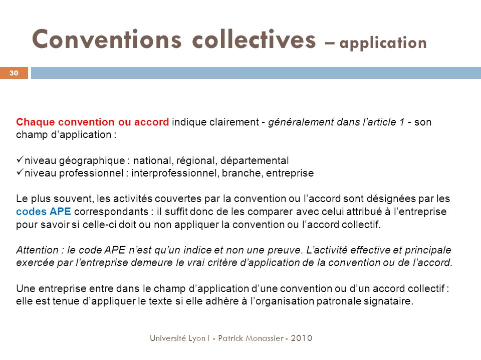 Conventions collectives – application