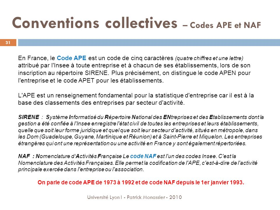 Conventions collectives – Codes APE et NAF
