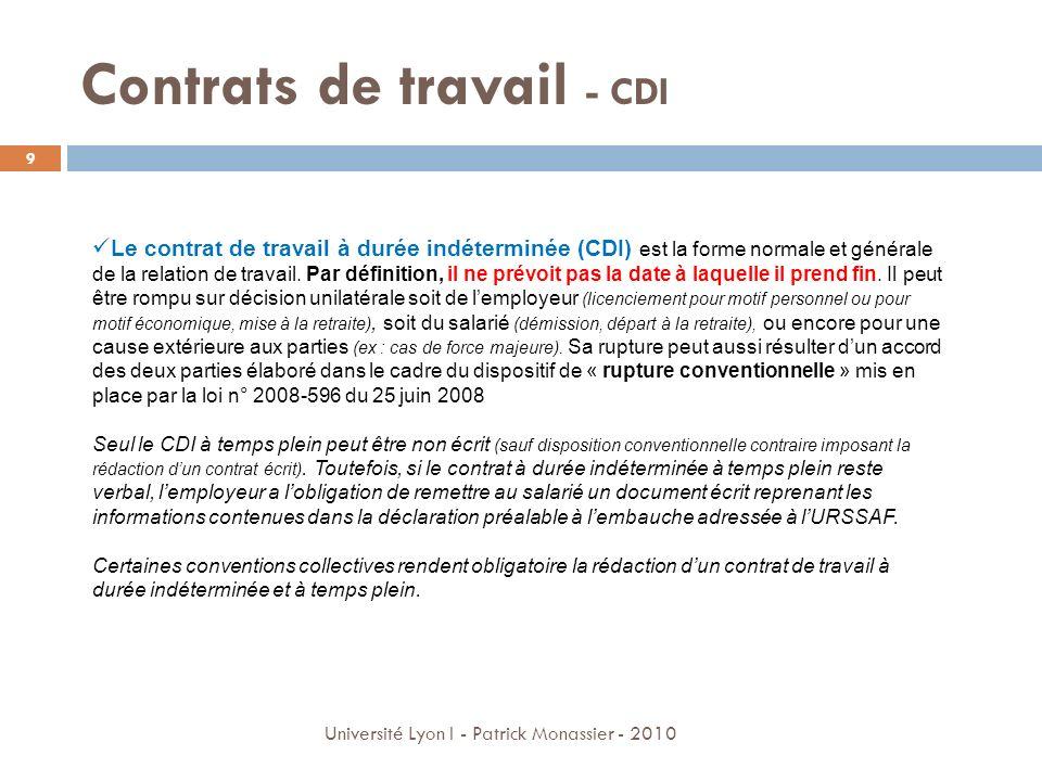 Contrats de travail - CDI