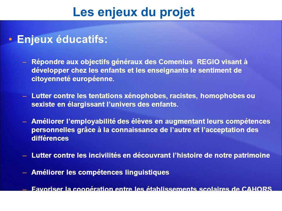 Les enjeux du projet Enjeux éducatifs: