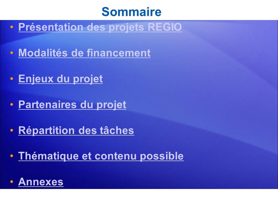Sommaire Présentation des projets REGIO Modalités de financement