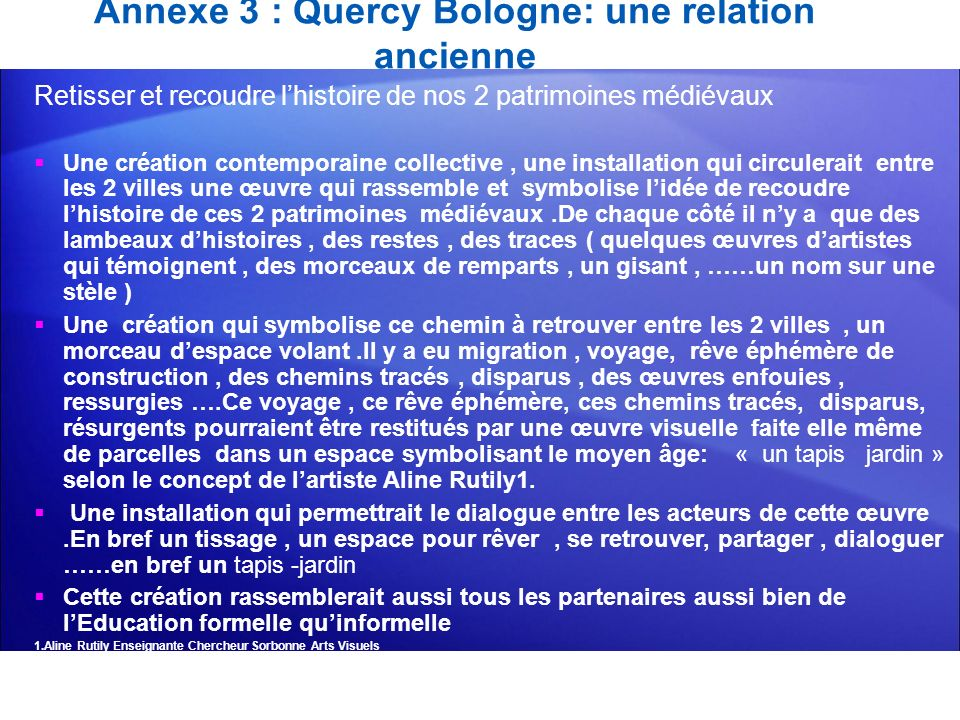 Annexe 3 : Quercy Bologne: une relation ancienne