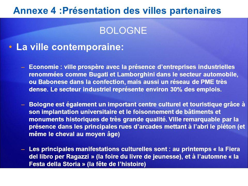 Annexe 4 :Présentation des villes partenaires