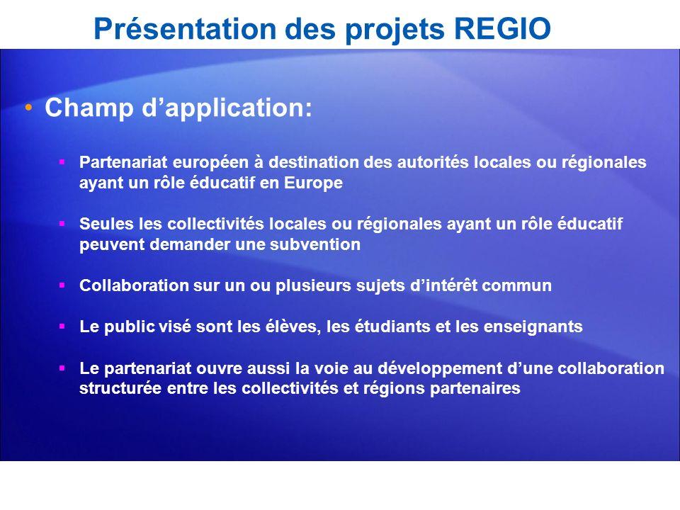 Présentation des projets REGIO