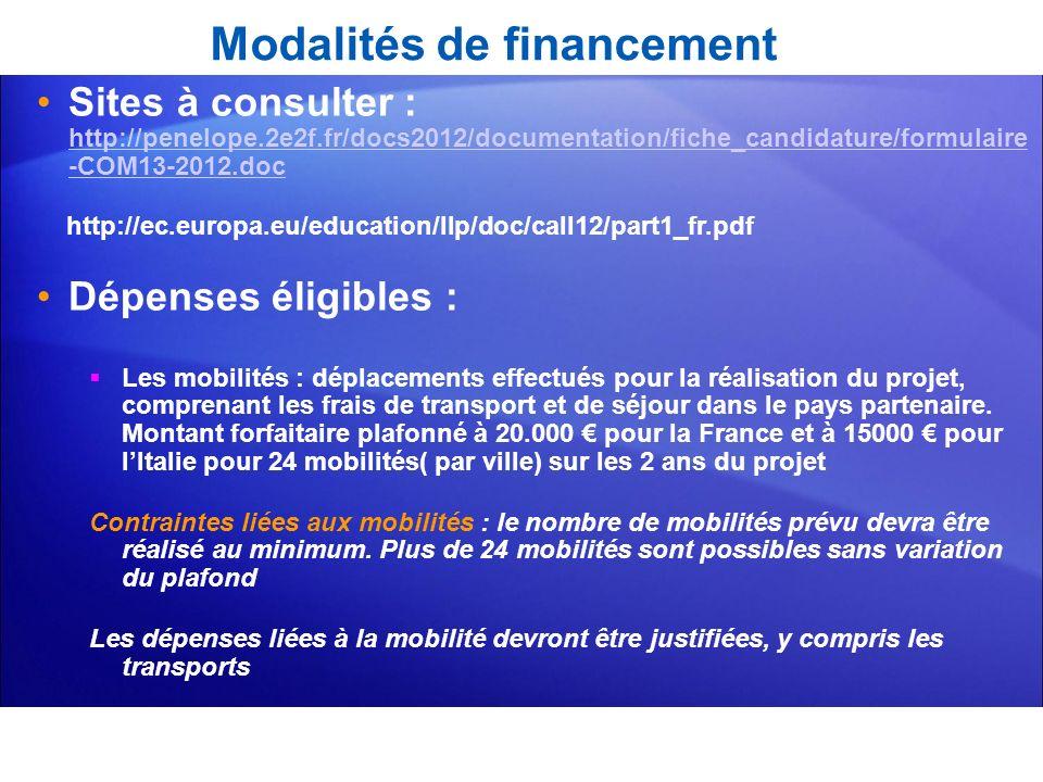 Modalités de financement