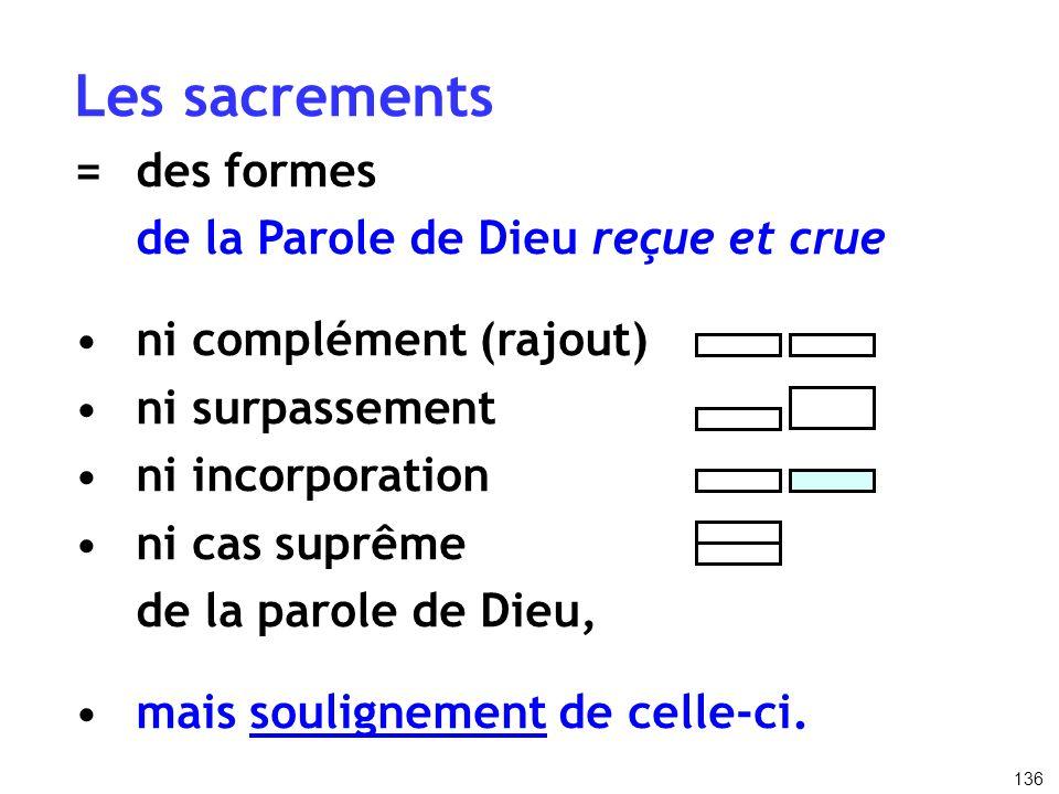 Les sacrements = des formes de la Parole de Dieu reçue et crue