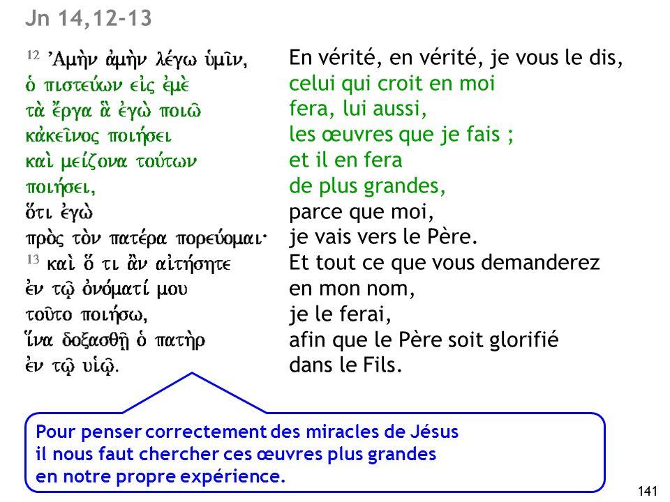 Jn 14,12-13 En vérité, en vérité, je vous le dis, celui qui croit en moi. fera, lui aussi, les œuvres que je fais ;