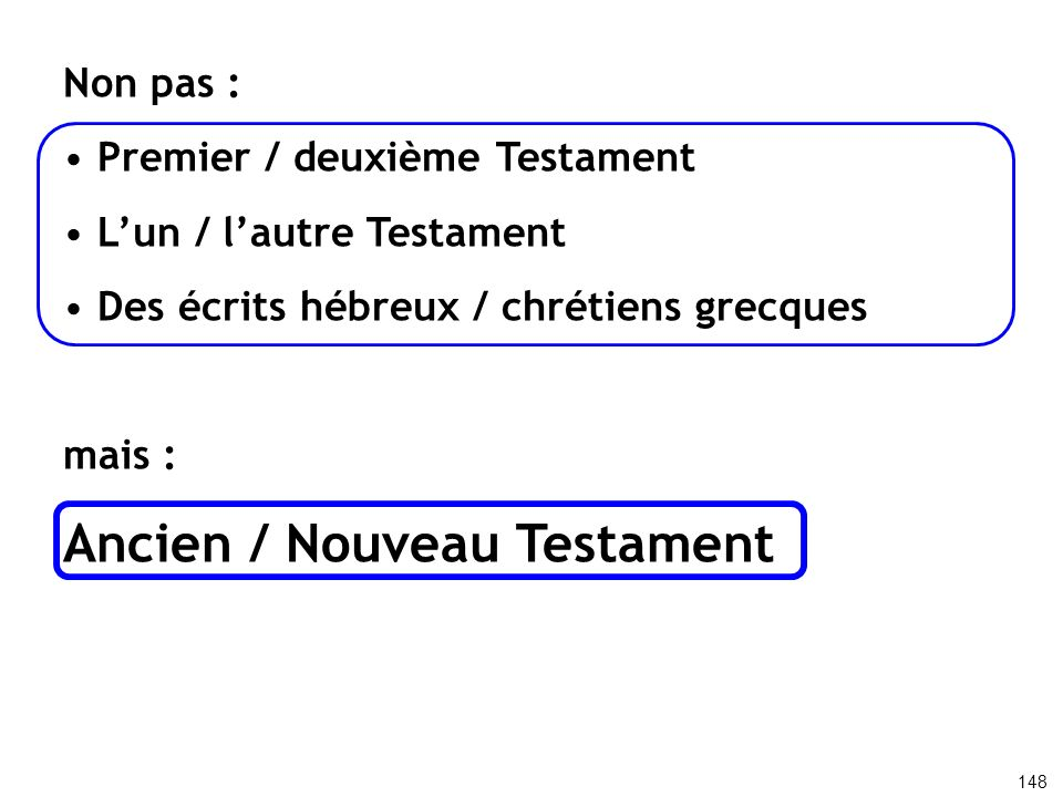 Ancien / Nouveau Testament