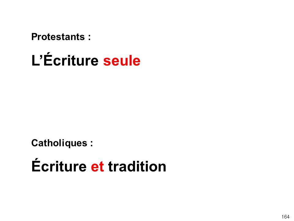 Protestants : L'Écriture seule Catholiques : Écriture et tradition 164