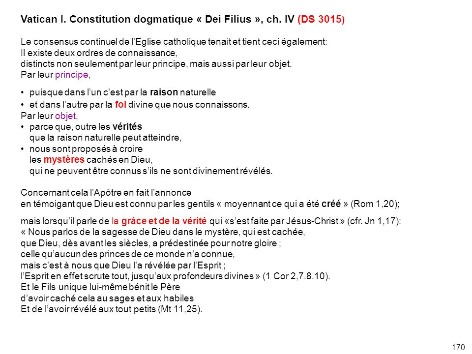 Vatican I. Constitution dogmatique « Dei Filius », ch. IV (DS 3015)