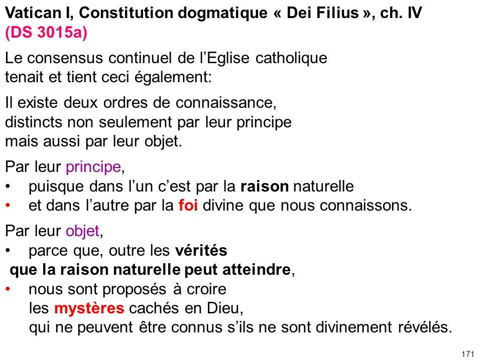 Vatican I, Constitution dogmatique « Dei Filius », ch. IV (DS 3015a)