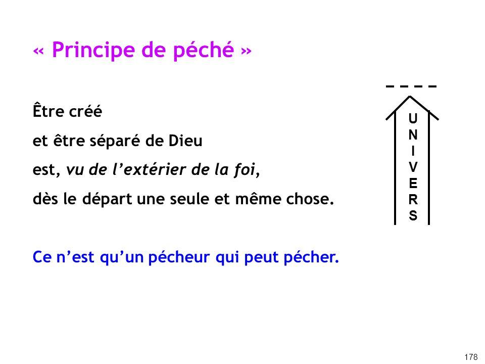« Principe de péché » Être créé et être séparé de Dieu