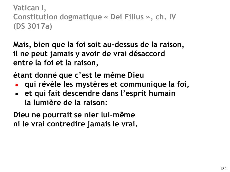 Constitution dogmatique « Dei Filius », ch. IV (DS 3017a)