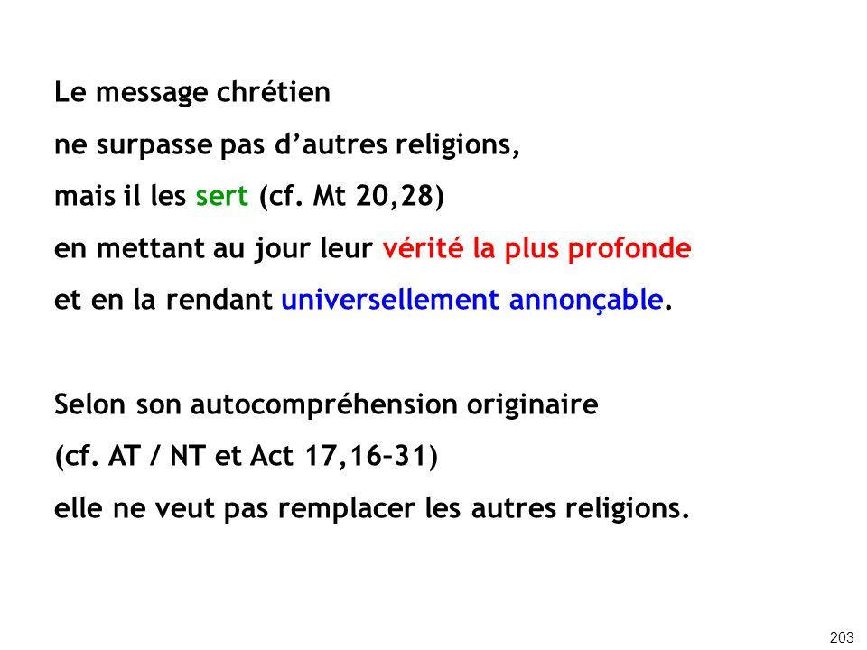 ne surpasse pas d'autres religions, mais il les sert (cf. Mt 20,28)