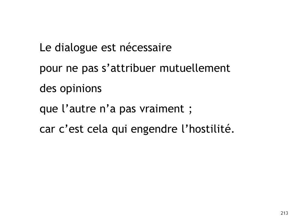 Le dialogue est nécessaire pour ne pas s'attribuer mutuellement