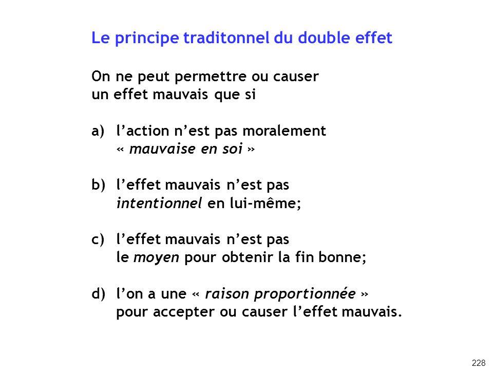 Le principe traditonnel du double effet