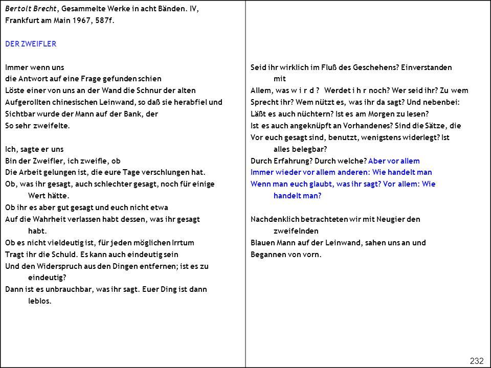 232 Bertolt Brecht, Gesammelte Werke in acht Bänden. IV,