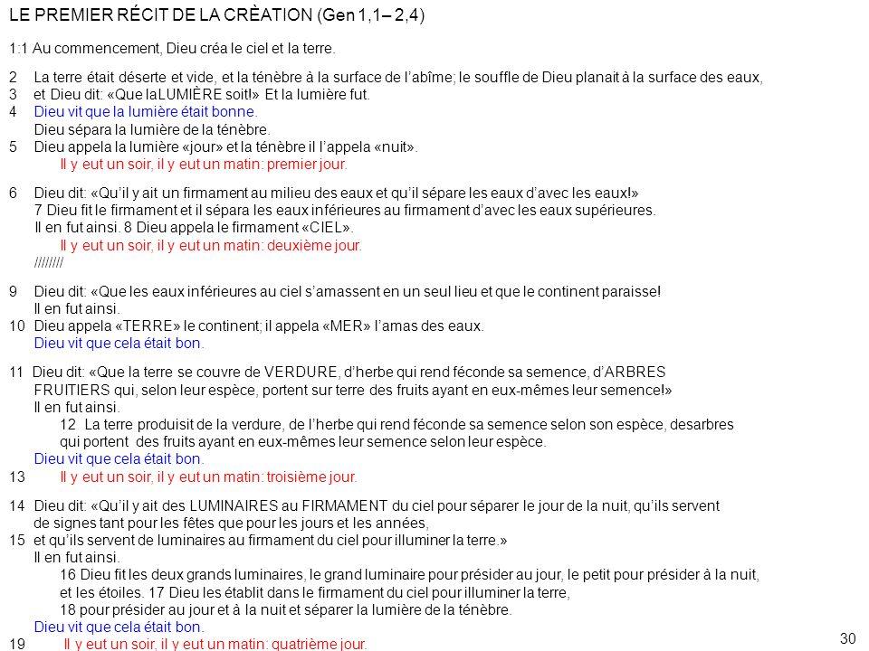 LE PREMIER RÉCIT DE LA CRÈATION (Gen 1,1– 2,4)