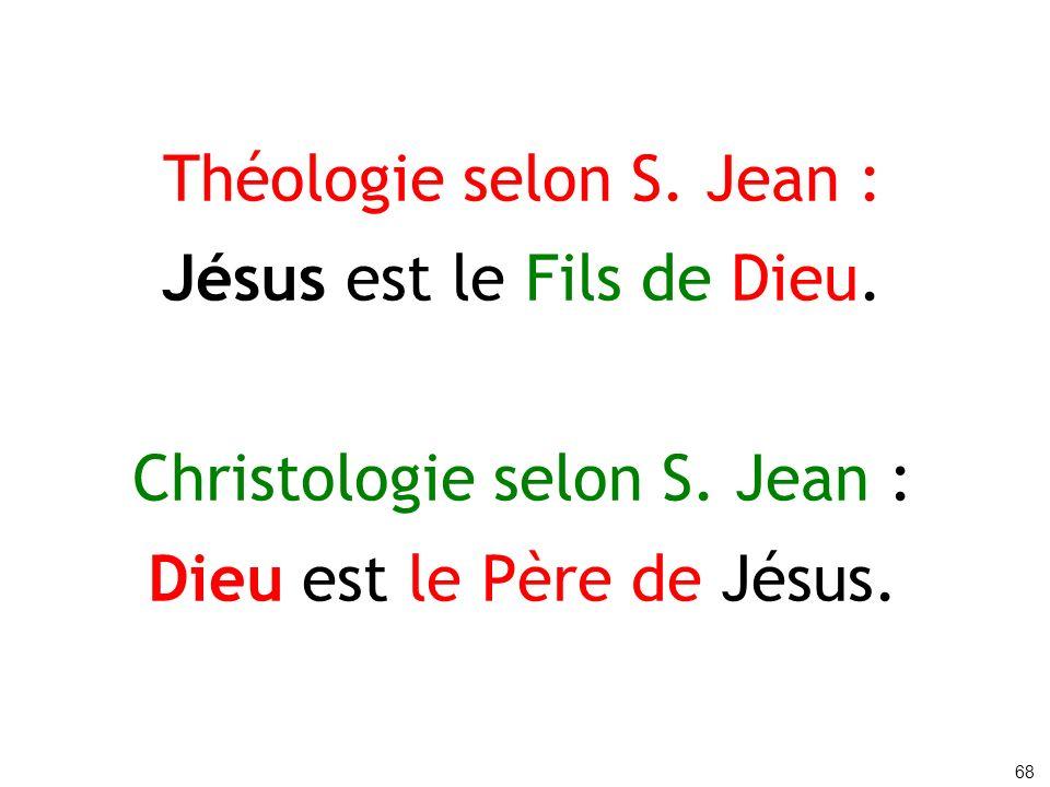 Théologie selon S. Jean : Jésus est le Fils de Dieu.