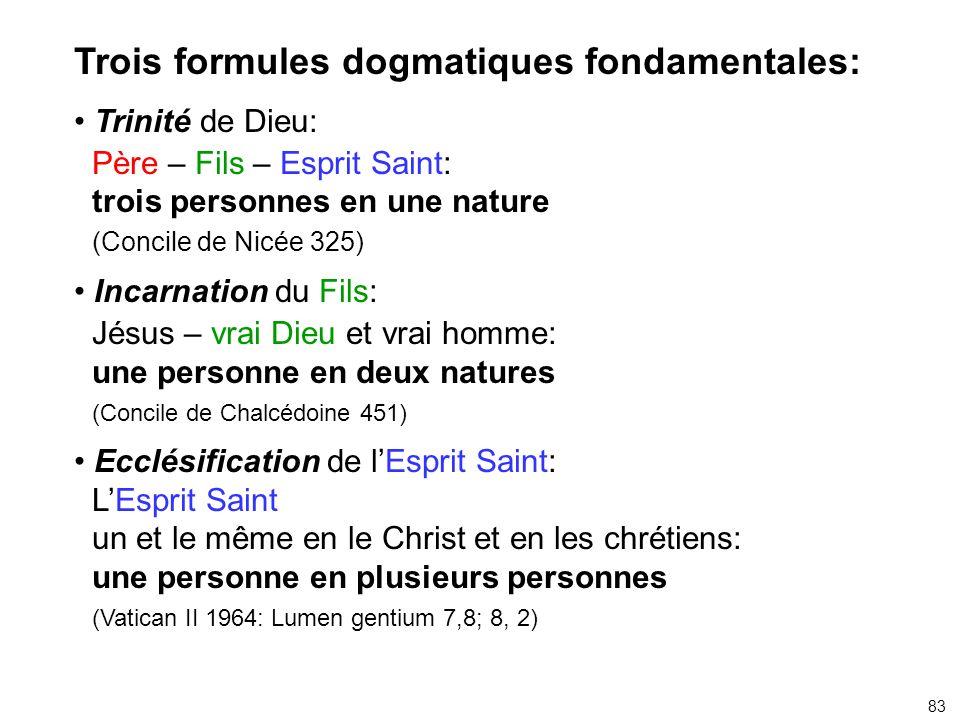 Trois formules dogmatiques fondamentales: