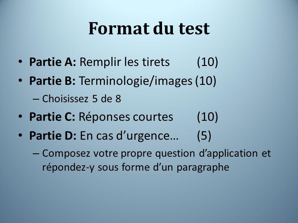 Format du test Partie A: Remplir les tirets (10)