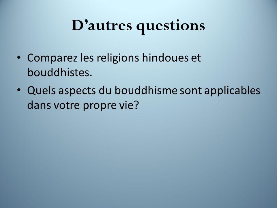 D'autres questions Comparez les religions hindoues et bouddhistes.