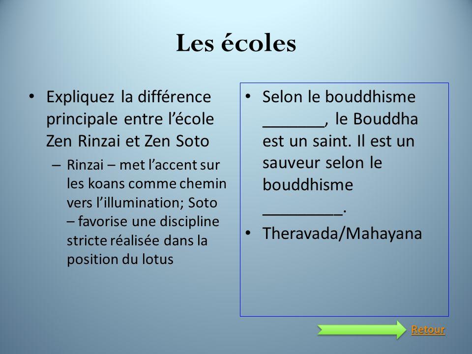 Les écoles Expliquez la différence principale entre l'école Zen Rinzai et Zen Soto.