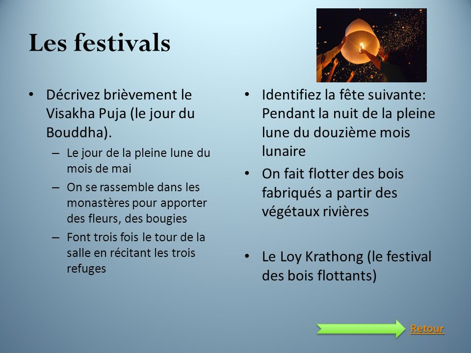 Les festivals Décrivez brièvement le Visakha Puja (le jour du Bouddha). Le jour de la pleine lune du mois de mai.