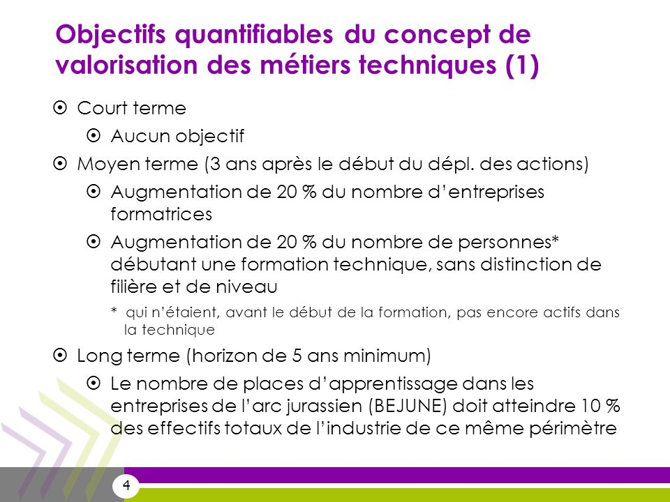 Objectifs quantifiables du concept de valorisation des métiers techniques (1)