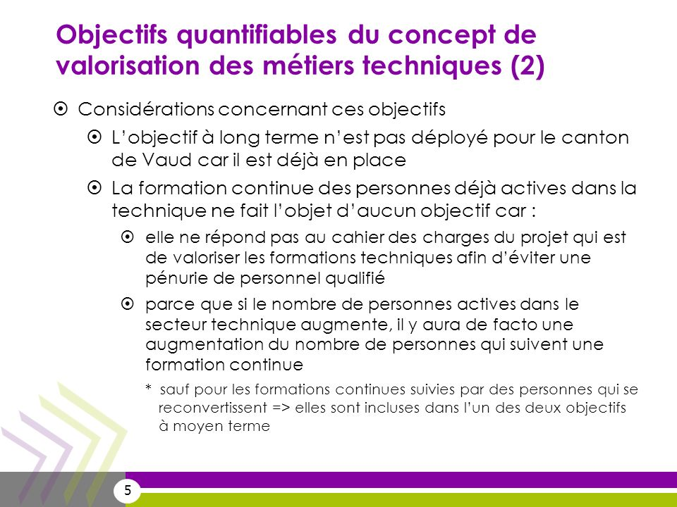 Objectifs quantifiables du concept de valorisation des métiers techniques (2)