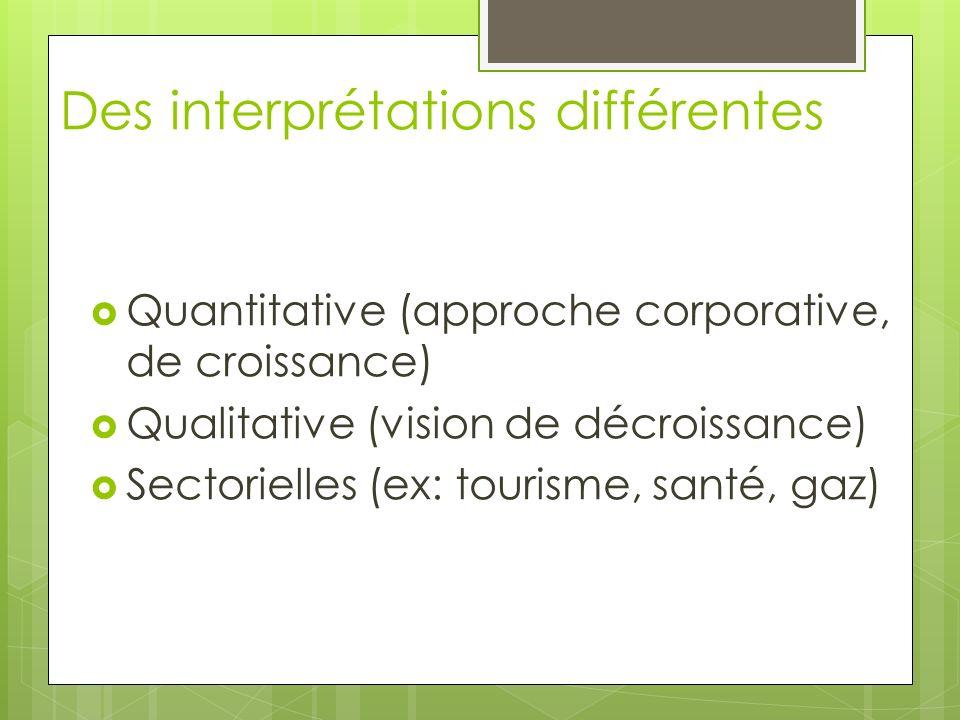 Des interprétations différentes