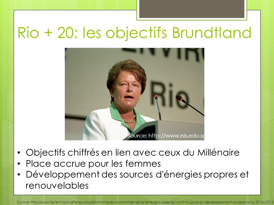 Rio + 20: les objectifs Brundtland