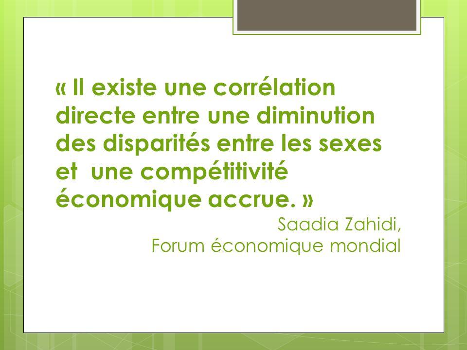 « Il existe une corrélation directe entre une diminution des disparités entre les sexes et une compétitivité économique accrue. »