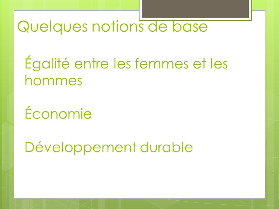 Égalité entre les femmes et les hommes Économie Développement durable