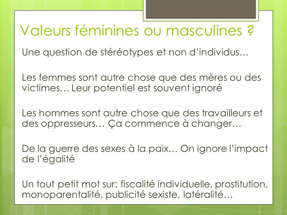 Valeurs féminines ou masculines