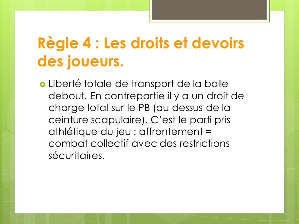 Règle 4 : Les droits et devoirs des joueurs.