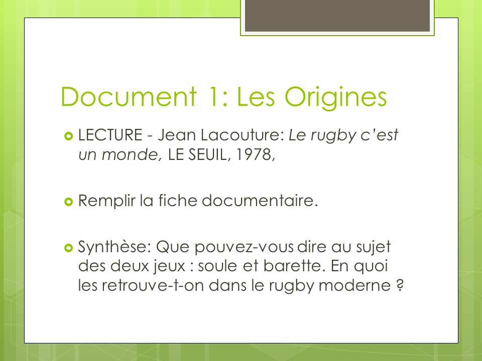 Document 1: Les Origines