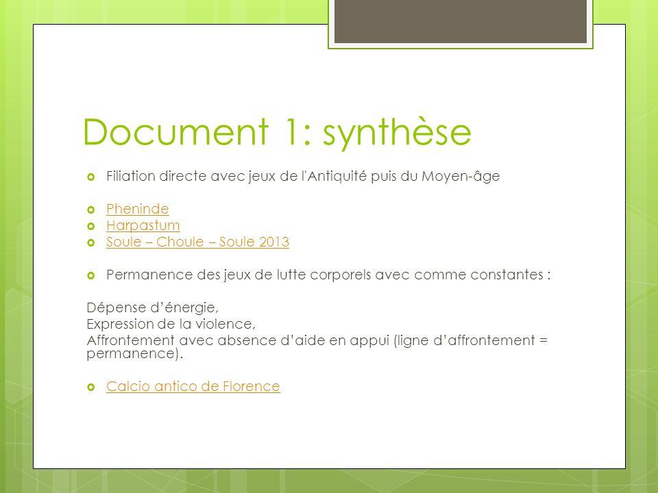 Document 1: synthèse Filiation directe avec jeux de l Antiquité puis du Moyen-âge. Pheninde. Harpastum.