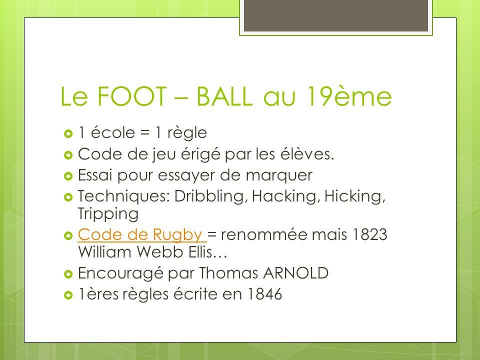 Le FOOT – BALL au 19ème 1 école = 1 règle