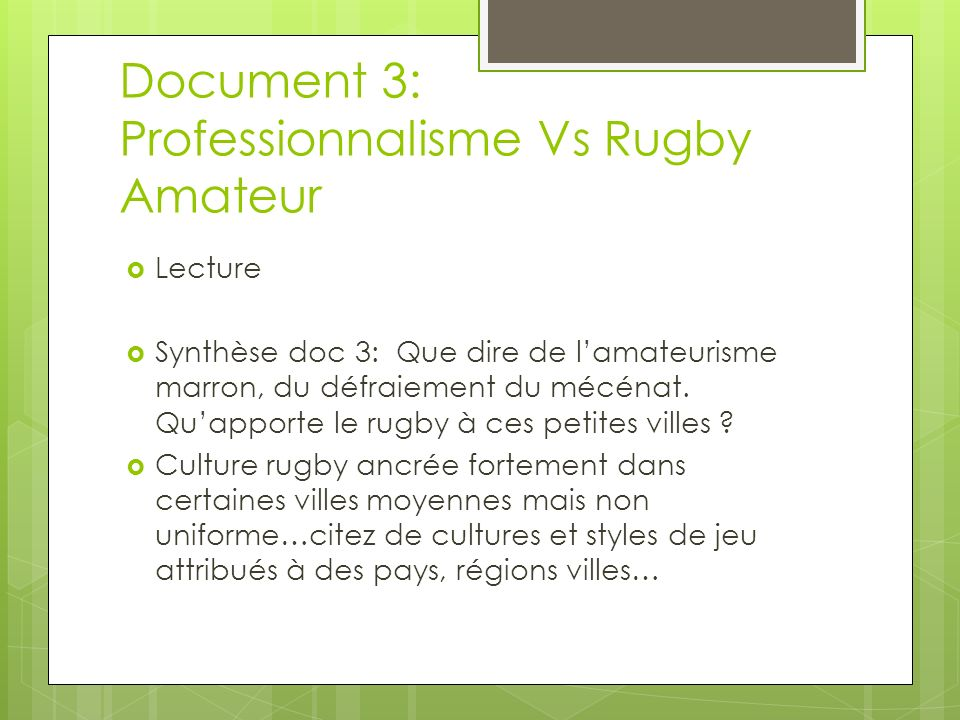 Document 3: Professionnalisme Vs Rugby Amateur