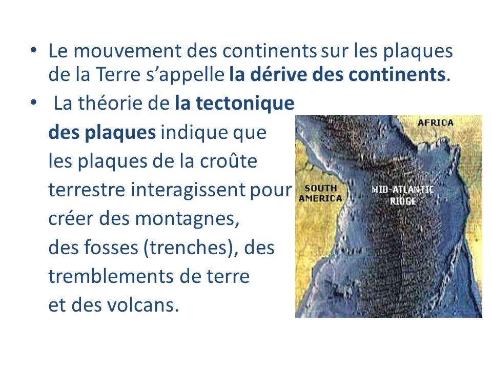 Le mouvement des continents sur les plaques de la Terre s'appelle la dérive des continents.