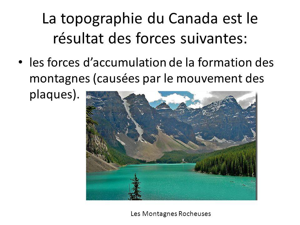 La topographie du Canada est le résultat des forces suivantes: